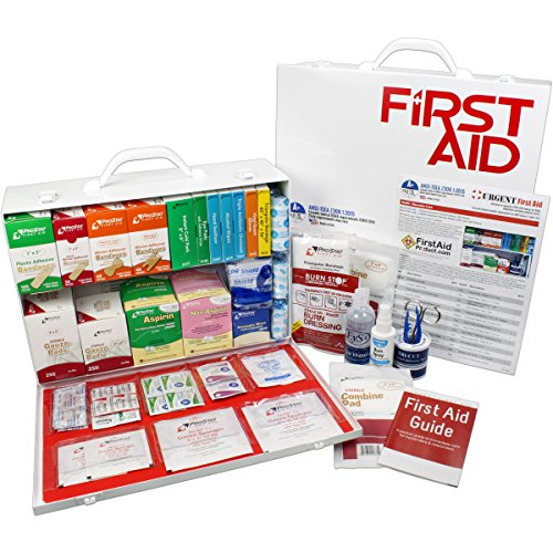 OSHA & ANSI 2 Shelf Industrial First Aid Cabinet with Pocket Liner, 75 Person, 556 Pieces, 2015 Class A+, Types I & II, Made in USA by Urgent First AidTM with Extra Content & New ANSI First Aid Guide from Urgent First Aid