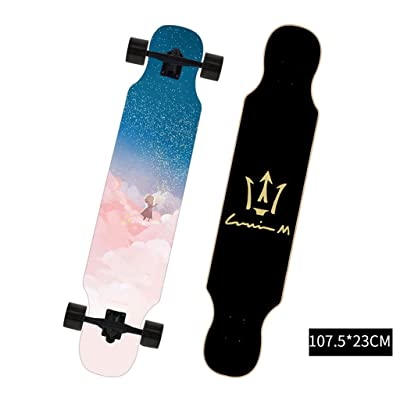 SHATONG Literary Youth Four-Wheel Highway Trendy Longboard Adult Surfing Road Scooter Beginners Entry Professional Skateboard Student Boys Girls Wood Dance Travel Board (Color : D) : Sports & Outdoors