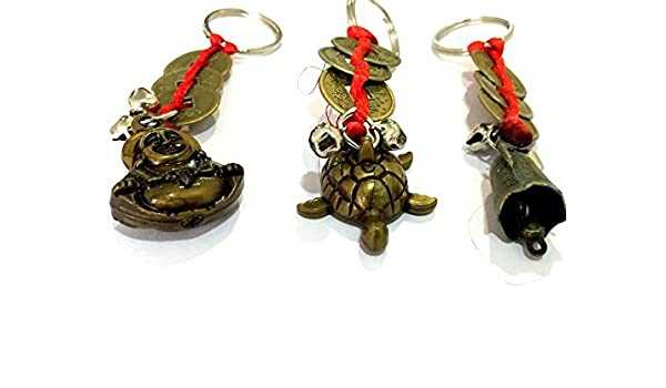 DevDeep Set Of 3 Fengshui Red Chinese Knot 3 Coins With Turtle Laughing BUDHA /& Bell Key Ring//key chain//Tassel Bring the 3 Heavenly Blessings to your home. Kachua
