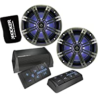 Kicker Bundle of 3 Items 40PXIBT50.2 2-Channel Powersport Amplifier with PXIRCX Remote Control and 43KM654LCW 6-1/2 2-Way LED Marine Speakers