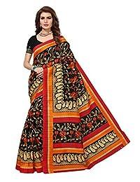 Shonaya Womens Black Colour Bhaglpuri Silk Printed Saree with Unstitched Blouse Piece