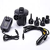 FMS Electric Portable Air Pump 12V DC/100-240V AC Quick-Fill Air Pump 4 Nozzles for Inflatable Deflating Air Mattress Raft Bed Boat Pool Toys (Black)