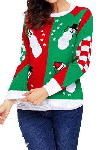 (Dokotoo Womens Stylish Regular Ladies Casual Crewneck Cute Ugly Holiday Funny Snowman Plaid Christmas Knitting Sweater Pullover Tops Green Small)