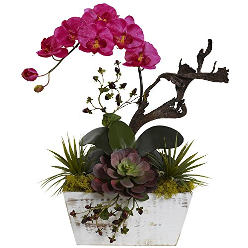 Nearly Natural Phalaenopsis Stem (Nearly Natural 1458-BU Orchid & Succulent Garden with White Wash Planter)
