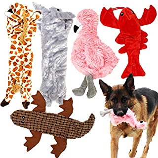 Jalousie 5 Pack Dog Squeaky Toys Stuffingless Dog Toy Dog w/ Durable Liner Dog Crinkle Toy No Stuffing Dog Toy- Dog Toys for Pets Dogs No Stuffing Dog Squeaker Toy for Medium Large Dogs