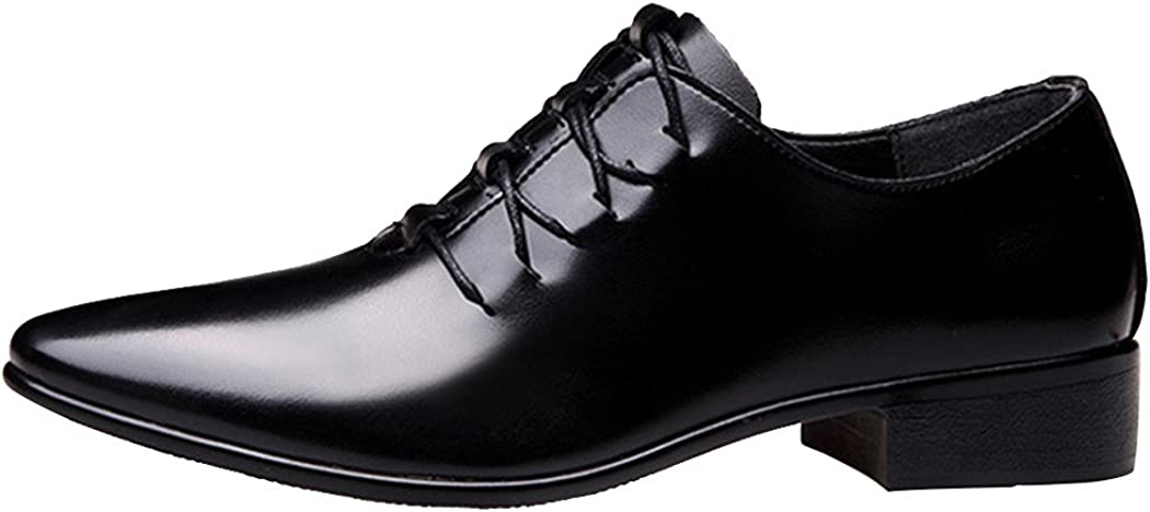 Sun Lorence Mens Pointed-Toe Hollow-Out Breathable Lace-up Leather Dress Shoes Casual Business Oxfords