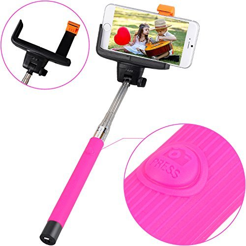 Thumb Clamp Two Position (Extendable Self-portrait Wireless Bluetooth Remote Camera Shooting Shutter Monopod Selfie Handheld Stick Pole with Mount Holder Specially Designed for Iphone 6 5s 5c 5 4s 4 Samsung Galaxy S5 S4, S3, S2, Note 2, Note 3 (Blue))