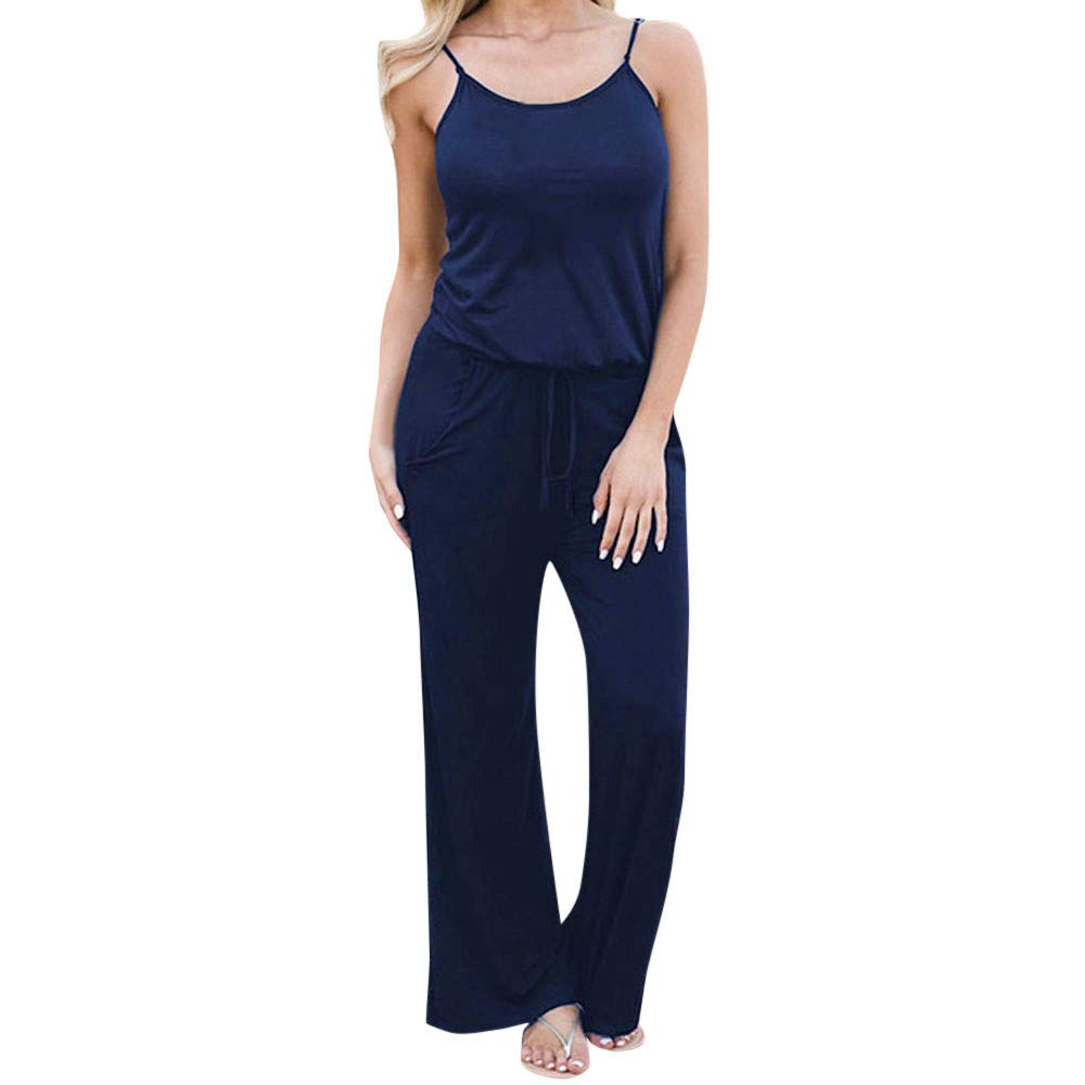 ZhixiaYS Women Sling Jumpsuit Bohemian Sleeveless Loose Holiday Long Playsuits Rompers Navy