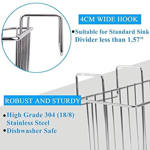 SANNO Kitchen Sink Sponge Holder,In Sink Caddy Utensil Holder Brush Soap Dish washing Organizer Tray Liquid Drainer Rack - Stainless Steel by SANNO (Image #4)