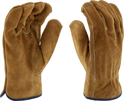 West Chester 81456 Split Cowhide Leather Unlined Driver Glove, Work, Shirred Elastic Wrist Cuff, Large, Brown (Pack of 1 Pair)