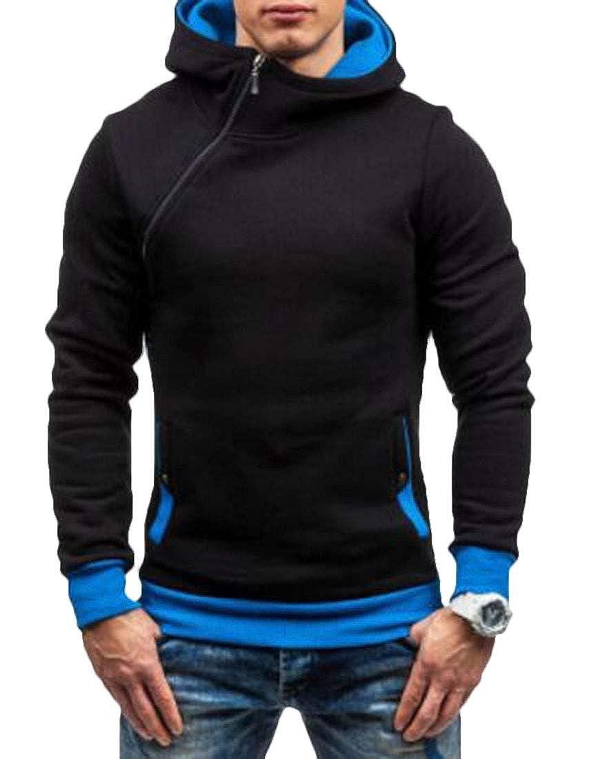 SELX Men Zip-Up Pullover Oblique Zipper Hooded Sweatshirts