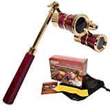 HQRP Opera Glasses / Binoculars w/ Crystal Clear Optic (CCO) 3 x 25 in Burgundy Color with Golden Trim, Built-In Extendable Handle and Red Reading Light