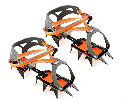 FTK 1 Pair Ice Crampons 14 Teeth Claws Non-slip Crampons Shoes Cover Stainless Steel Snow Shoe Spikes Grips Cleats Ski Climb Gripper by FTK