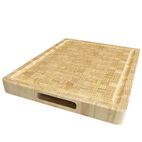 Cutting Board Natural Bamboo Butcher Block - Natural Bamboo Wood Edge Grain Cutting Board with Juice Moat - 24