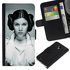 JackGot ( Princess Leia ) Samsung Galaxy S4 Mini i9190 (NOT S4) la tarjeta de Crédito Slots PU Funda de cuero Monedero caso cubierta de piel
