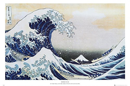 Laminated The Great Wave at Kanagawa, c.1829 Poster by Katsushika Hokusai 36 x 24in