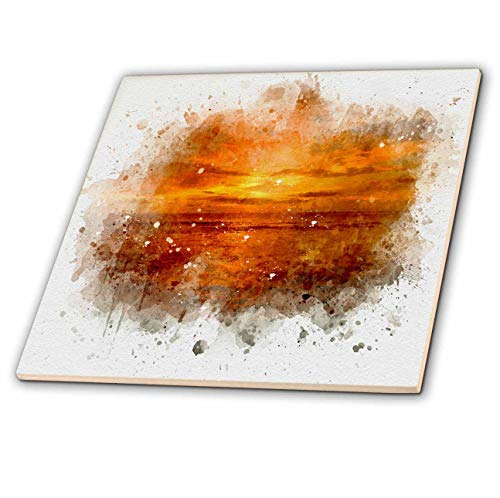 3dRose Anne Marie Baugh - Impressionist Mixed Media Art - Image Of Watercolor Bright Orange Sunset Beach Art - 6 Inch Glass Tile (ct_318715_6)