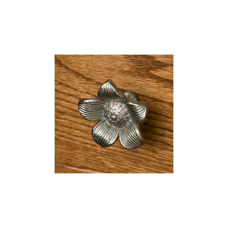Solid Brass Starflower Cabinet Knob   Brushed Nickel