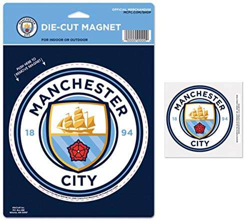 WinCraft Bundle - 2 Items: Manchester City Football Club 1 Large Die Cut Magnet and 1 Small Decal