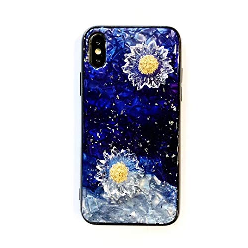 SevenPanda Seashell Daisy Design Case for iPhone 6 Plus iPhone 6S Plus, Ultra Thin Tempered Glass Hard Back Shiny Gold Foils Handmade Cover for Girls and Women for iPhone 6S ()