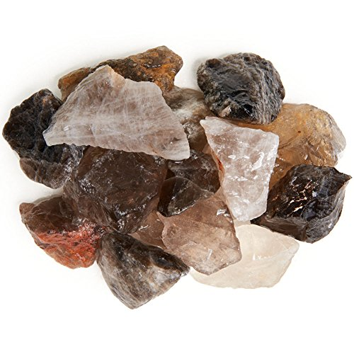 Digging Dolls: 2 lbs Smokey Quartz Rough Rocks from Brazil - Asst Shades of Brown and Tan - Raw Natural Crystals and Stones for Arts, Crafts, Tumbling, Cabbing, Polishing, Wicca, Reiki and More