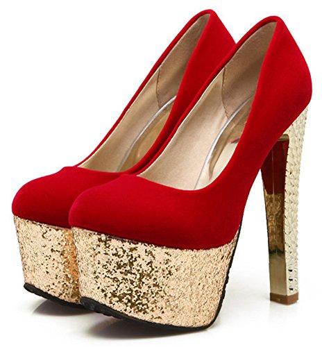 Aisun Donna Sexy Glitter Paillettes Low Cut Scarpe A Punta Svasata Dressy Su Platform A Tacco Alto Alte Scarpe Con Paillettes Rosse