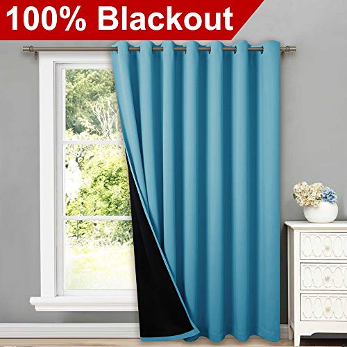 NICETOWN Total Shade Patio Door Curtain, Heavy-Duty Full Light Shading Sliding Door Drape Room Divider Curtain, Vertical Blind for Window(Teal Blue, 1 Panel, 100 inches Wide x 84 inches Long (Room Shades Divider)