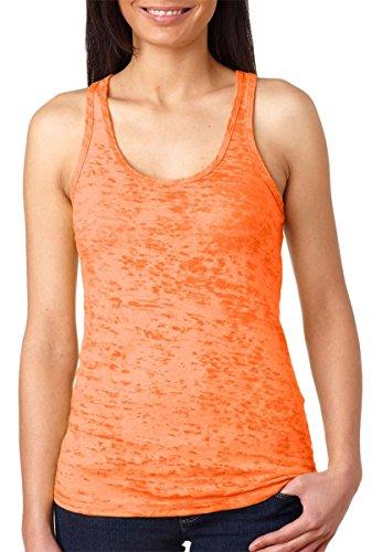 Next Level Women's Burnout Baby-Rib Collar Racerback Tank, Neon Orange, XX-Large