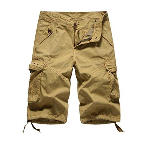 Pervobs Men Shorts Mens Leisure Casual Pocket Beach Work Sports Short Trouser Shorts Pants (34, Khaki) ()