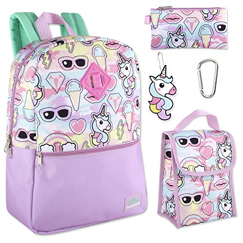 Trailmaker 5 in 1 Full Size Character School Backpack and Lunch Bag Set For Girls (Unicorns) (American Girl Doll Backpack)
