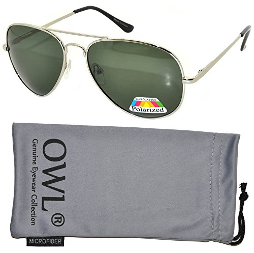 Classic Aviator Style Silver Metal Frame Sunglasses Green Lens Men Women