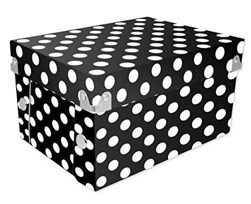 Snap-N-Store Gift Boxes, 8 x 4 x 6 Inches, Black/White Polka Dot. 2 Pack (SNS01972)