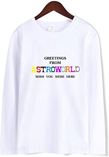 JJZHY Travis Scotts Astroworld Fashion Simple Camiseta de algodón de Manga Larga con Cuello Redondo: Amazon.es: Deportes y aire libre