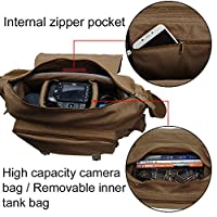 Vintage Waterproof Canvas DSLR SLR Shockproof Camera Shoulder Messenger Bag for Canon Sony Nikon by CADeN