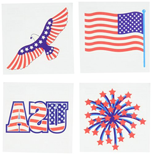 Star Spangled Fourth of July Party Patriotic Stars and Stripes Assorted Temporary Tattoo Favours, Paper, 4
