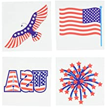 """Star Spangled Fourth of July Party Patriotic Stars and Stripes Assorted Temporary Tattoo Favours, Paper, 4"""" x 4"""", Pack of 24"""