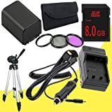NP-FV100 Lithium Ion Replacement Battery w/Charger + 8GB SDHC Memory Card + Mini HDMI + Tripod + 3 Piece Filter Kit for Sony NEXVG10, NEXVG20 Interchangeable Lens HD Handycam Camcorder DavisMAX Accessory Bundle