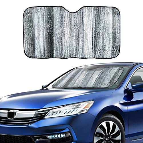 VaygWay Windshield Sun Shade Car- Foldable Window Cover Visor Shield- UV Rays Reflector Auto Accordion Protector- Front Window SUV Heat Blocker- 53