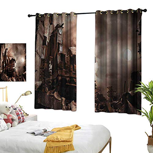 Thermal Insulating Blackout Curtain Night Sky Printing Insulation Buildings Clock Tower 72