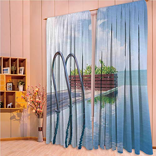 ZHICASSIESOPHIER Print Kids Curtains,Polyester Curtains Panels for Bedroom,Living Room,Poolside Plants Summertime Traveling Relaxing 108Wx108L Inch
