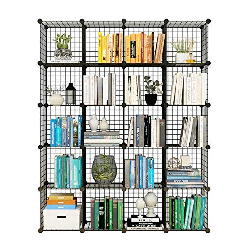 Stackable Locker Unit - KOUSI Storage Cubes Wire Grid Modular Metal Cubbies Organizer Bookcases and Book Shelves Origami Multifunction Shelving Unit, Capacious & Customizable, Black (20Cubes)