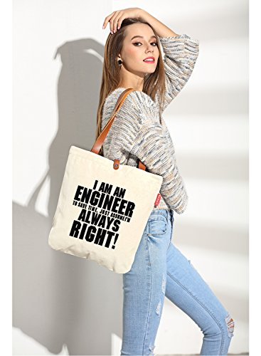 So'each Women's I Am an Engineer Graphic Top Handle Canvas Tote Shoulder Bag