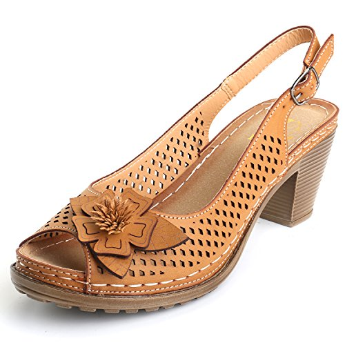 - Alexis Leroy Block Heel Adjustable Buckle Peep Toe Slingback Women's Sandals Apricot 37 M EU/6-6.5 B(M) US