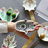Hamsa Hand Ring Holder Jewelry Tray Ceramic Trinkets Plate Jewelry Holder Home Decoration - Perfect for Holding Necklace, Earrings, Rings, Bracelet, etc.
