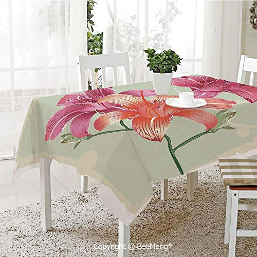 (BeeMeng Spring and Easter Dinner Tablecloth,Kitchen Table Decoration,Vintage Floral,Lily Flowers on Grunge Backdrop Gardening Plants Growth Botany,Pale Green Salmon Pink,59 x 83 inches)