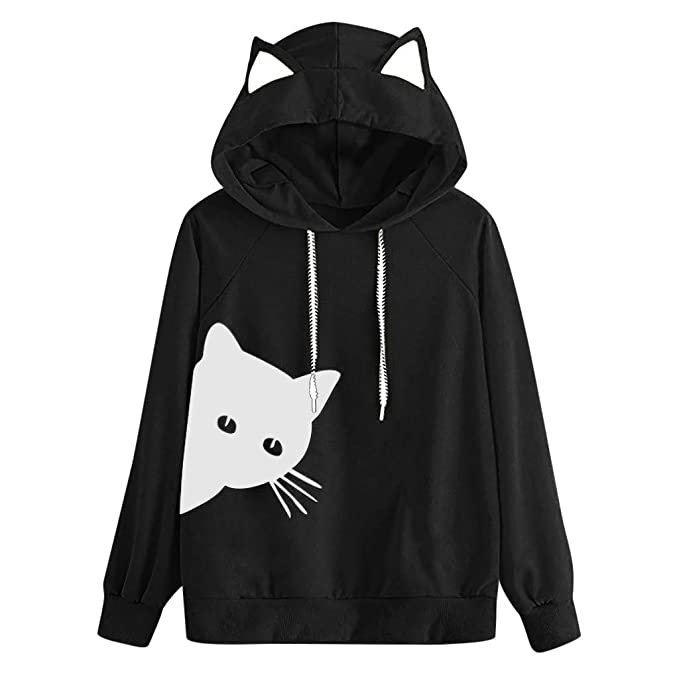 806d5e6102 Women Cute Polar Bear Print Cat Ear Hoodie Sweatshirt Mingfa Fashion Long  Sleeve Kangaroo Pocket Hooded Jumper Pullover  Amazon.co.uk  Clothing