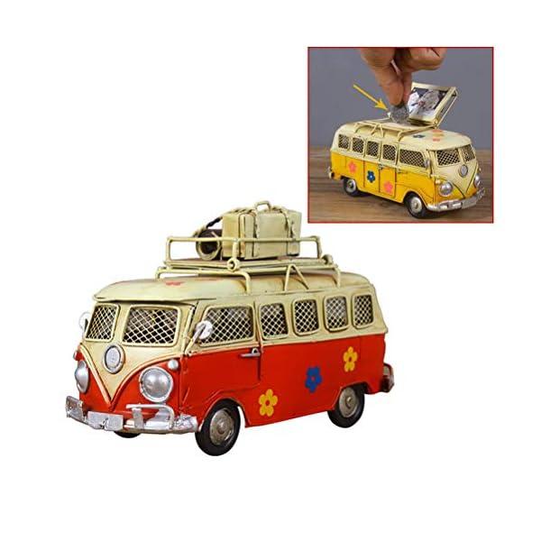 51ctQf9EIJL VOSAREA Eisen Sparschwein Vintage Zinn Bus Kindheit Speicher Metall Kunst Geschenk Home Decoration (rot)