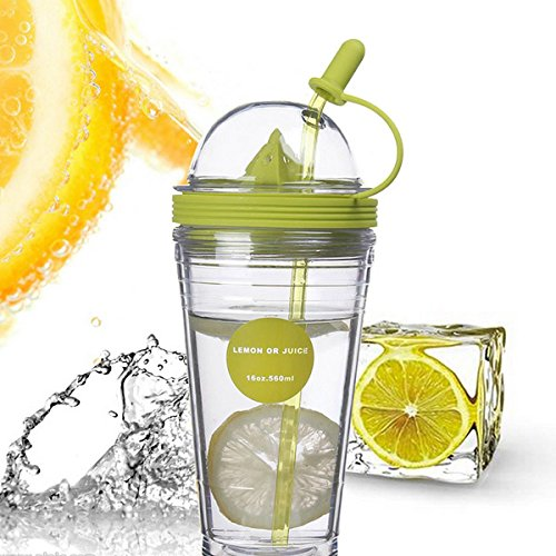 Double Layer Insulated Lemon Juice Bottle Cup Juicer Bottle With Straw (Random: Color)