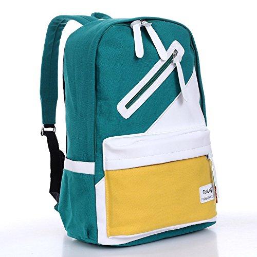 Minetom 2014 New Fahion Getroffen Leinwand Farbe Schultasche Rucksack Rucksack Kausalen 9 Farben hellgrün