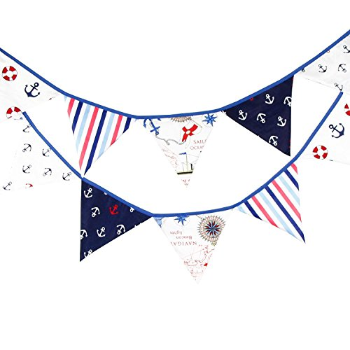Nautical Happy Birthday Party Pennant Double Sided Anchor